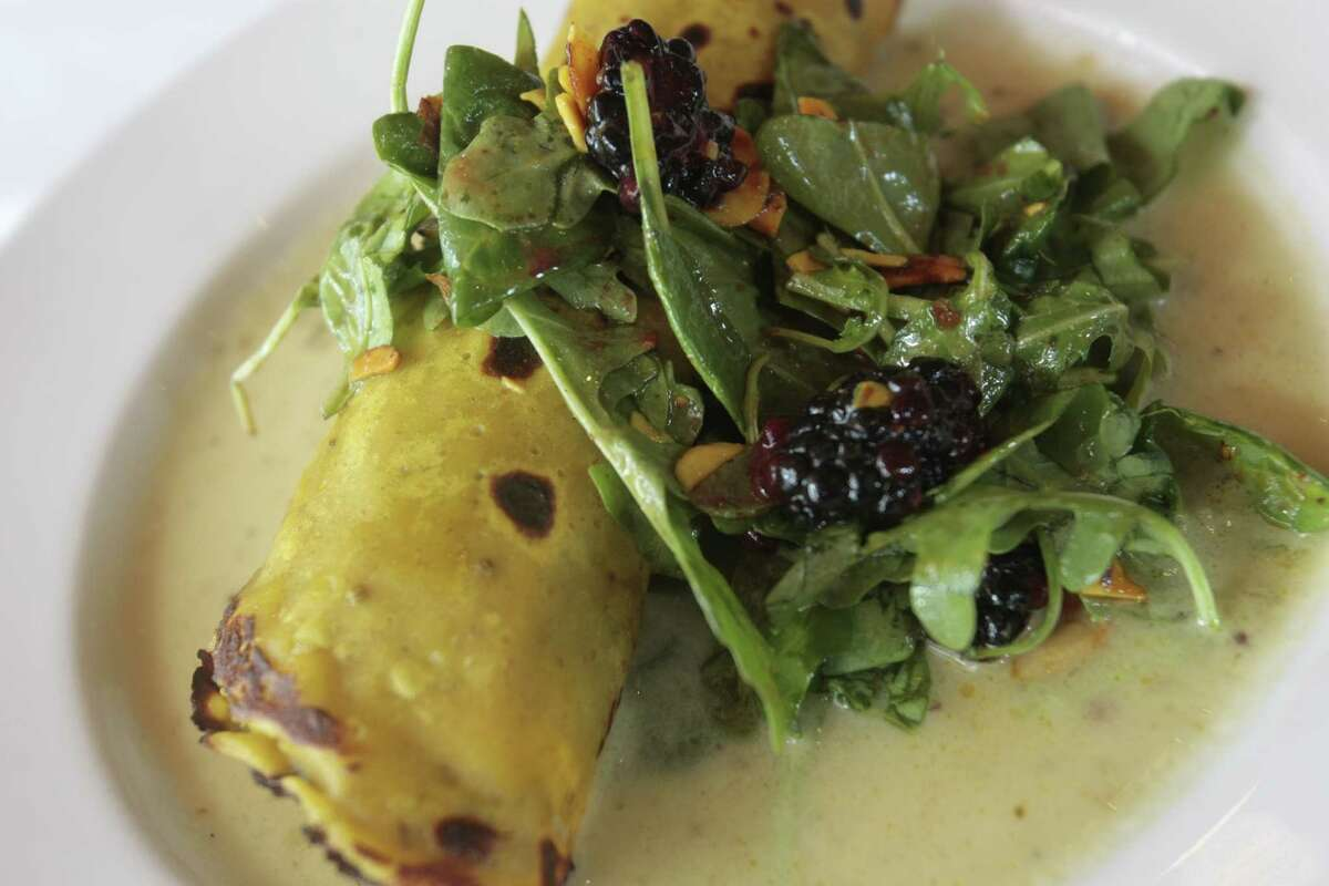 A crepe stuffed with butternut squash and avocado, at Indika.