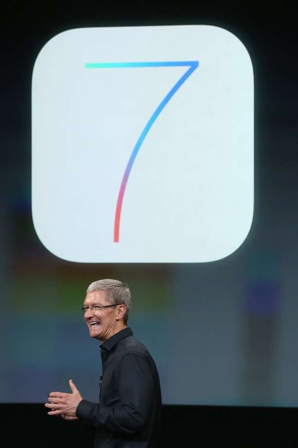 Apple CEO Tim Cook speaks on stage during an Apple product announcement at the Apple campus on September 10, 2013 in Cupertino, California. The company is expected to launch at least one new iPhone model. Photo: Justin Sullivan, Getty Images