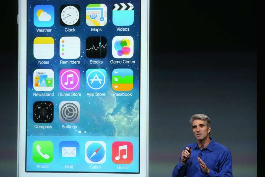 Apple Senior Vice President of Software Engineering Craig Federighi speaks about iOS 7 on stage during an Apple product announcement at the Apple campus on September 10, 2013 in Cupertino, California. The company is expected to launch at least one new iPhone model. Photo: Justin Sullivan, Getty Images