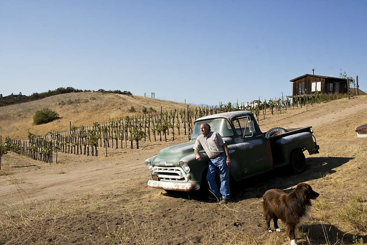 Michael Michaud of Michaud Vineyard and his dog Bear with an old Chevy 3100 on the property near Soledad, Calif., Wednesday, September 4, 2013.