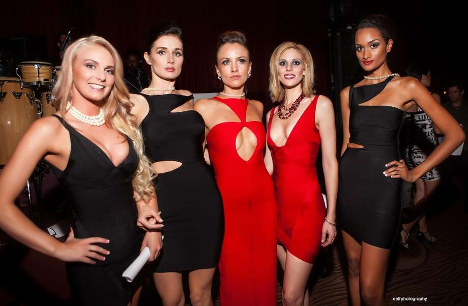 Mimi Tran dresses on models at the Rojas Agency Launch at the Clift Hotel. Photo: Delfphotography