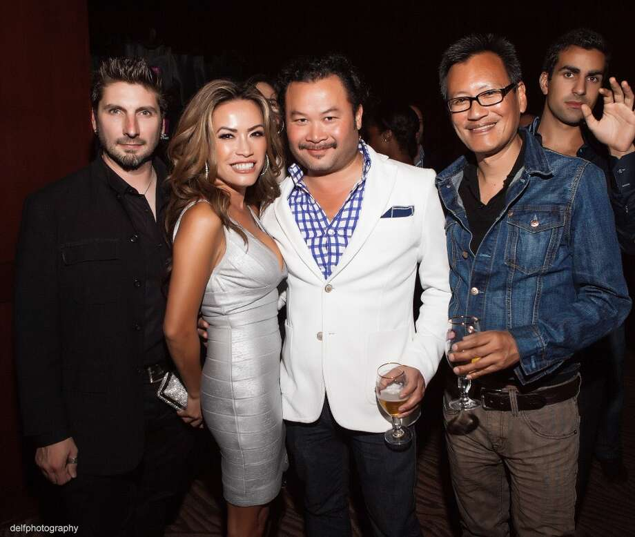 Rich Cimmalerro, Designer Mimi Tran, David Bui and Herm Pugay at the Rojas Agency Launch at the Clift Hotel. Photo: Delfphotography