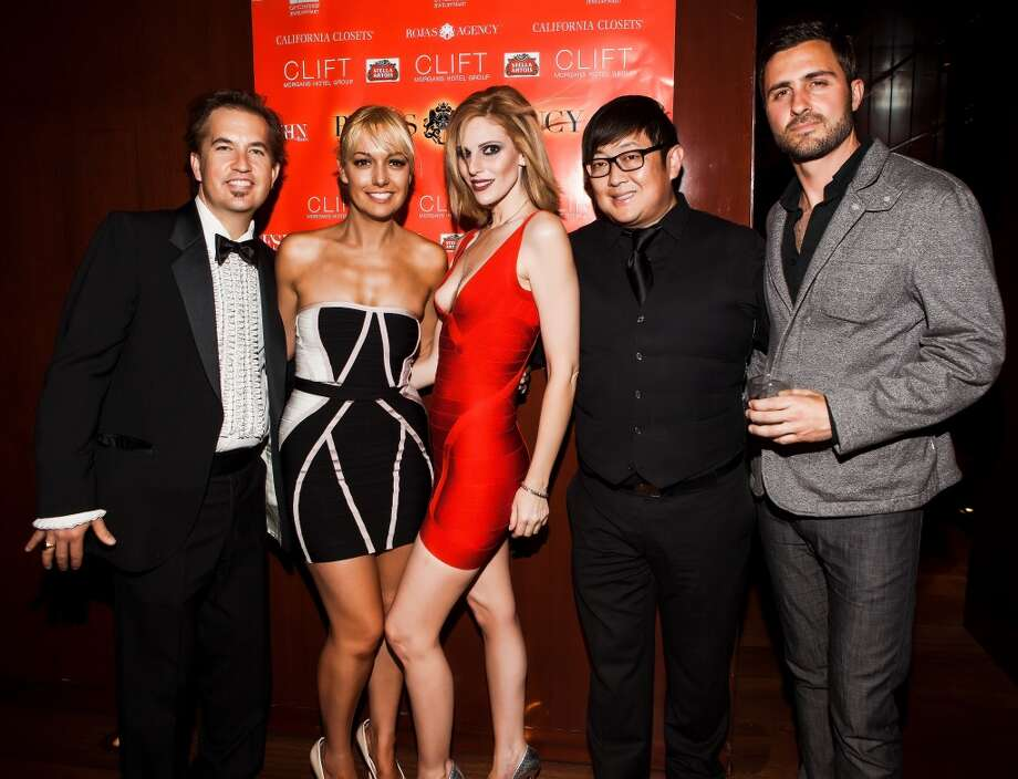 Guest, Kelly Rojas, Michelle Grey, Dave Kim, and electronic violinist Dylan Mahoney at Rojas Agency launch party at the Clift Hotel. Photo: Delfphotography