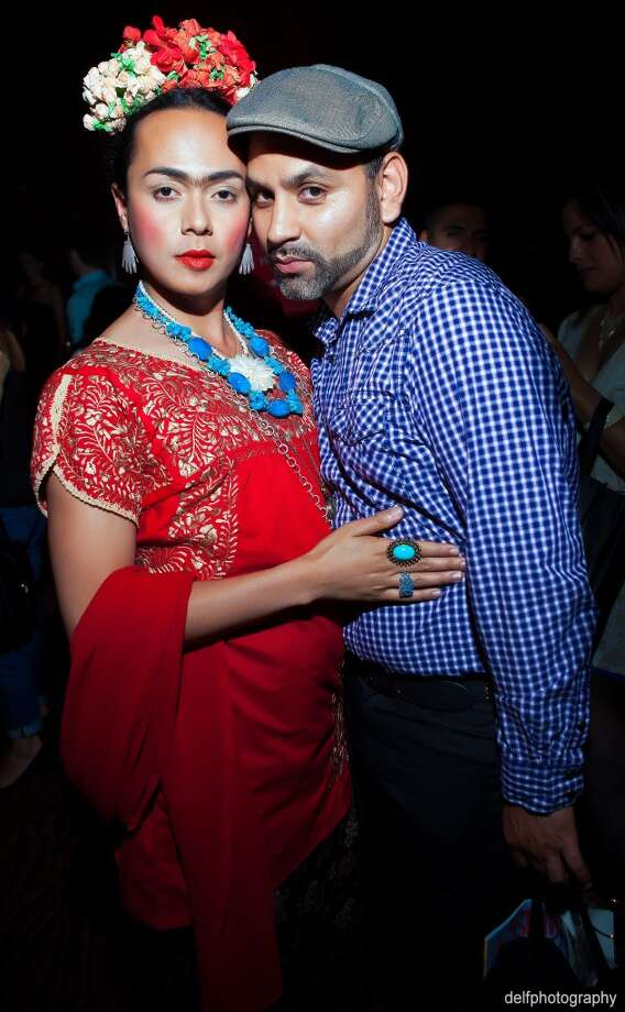 Guest wears Frida Kahlo inspired ensemble at the Rojas Agency launch at the Clift Hotel. Photo: Delfphotography