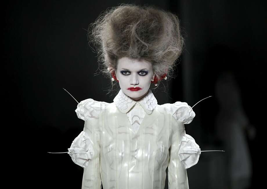 The Bride of Frankenstein shows a Thom Browne design for his Spring 2014 collection at New York Fashion 