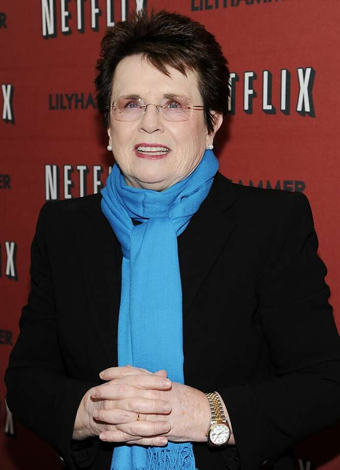 "FILE - In this Feb. 1, 2012 file photo, tennis great Billie Jean King attends the premiere of a Netflix original series ""Lilyhammer"" at the Crosby Street Hotel in New York. King, who turns 70 in November, has been celebrating the 40th anniversary of equal prize money at the U.S. Open, the formation of the WTA tour and her victory against Bobby Riggs in the ""Battle of the Sexes"" match. (AP Photo/Evan Agostini, File) Photo: Evan Agostini, Associated Press"