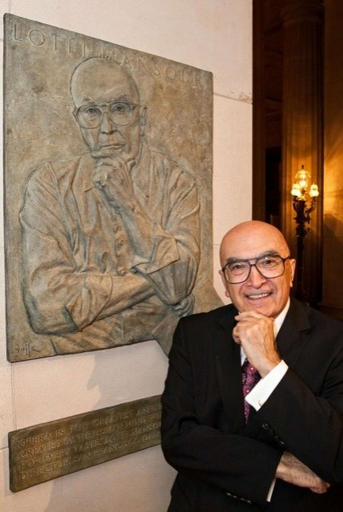 Former San Francisco Opera General Director Lotfi Mansouri was honored with the installation of a plaque in his honor in the lobby of the War Memorial Opera House on Monday, Oct. 26