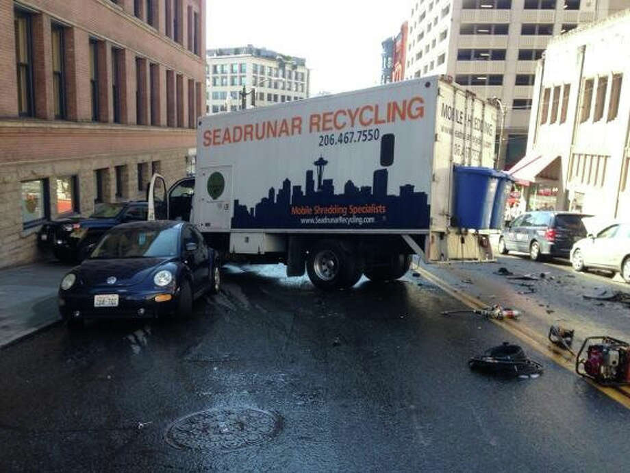 The box truck is shown after the accident. Photo: Seattle Fire Department