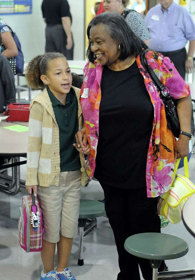 Gaydean Hunter walks to lunch with her granddaughter McKenna Hunter during National Grandparents' Day at Oak Forest Elementary School Tuesday Sept. 10, 2013. Photo: Dave Rossman, For The Houston Chronicle / © 2013 Dave Rossman