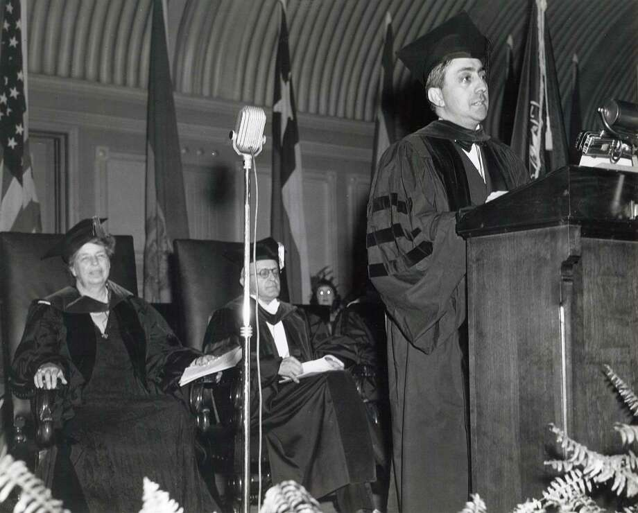 Eleanor Roosevelt, First Lady of the United States, left, is pictured during inter-American week in 1941 at Russell Sage College in Troy, N.Y. (Courtesy Russell Sage College)