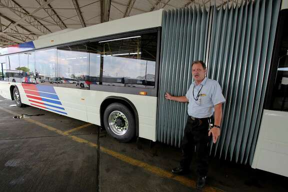 Tom Andree, manager of maintenance and operations at the Hiram Clarke facility, says drivers have begun training on the new 62-foot articulated buses.