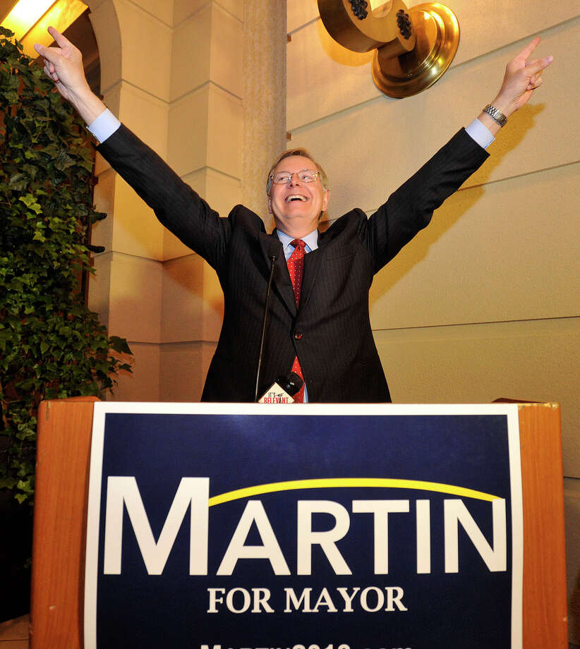 Stamford mayoral candidate David Martin gives his acceptance speech after winning the Democratic primary at the Martin campaign party after the polls closed at the Stamford Marriott on Tuesday, Sept. 10, 2013. Photo: Jason Rearick / Stamford Advocate