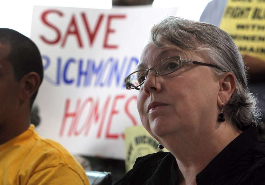 Richmond Mayor Gayle McLaughlin listens to a reporter's question as she and supporters of Richmond's eminent domain measure to prevent foreclosures met with the press before the city council meeting on Tuesday, September 10, 2013, in Richmond, Calif. Photo: The Chronicle