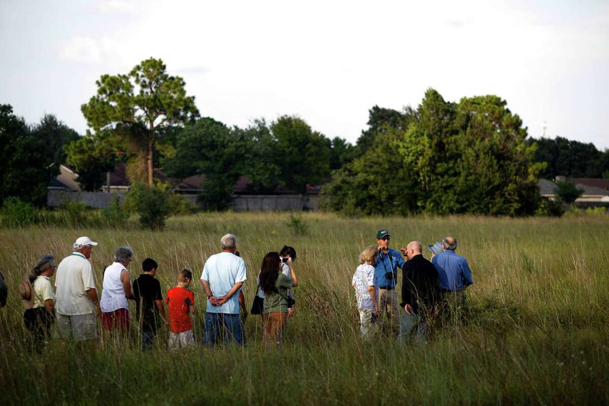 Jaime Gonzé¡lez, conservation education director for the Katy Prairie Conservancy, at right, in blue, speaks with a group in the Deer Park prairie - a pristine 50-acre example of one of the world's most endangered ecosystems - which has been saved from development. The Bayou Land Conservancy held a press conference at 6 p.m. to announce the news, Sept. 10, 2013 in Deer Park, TX.