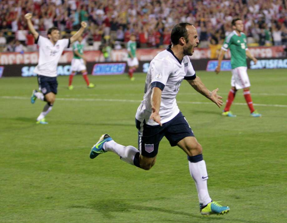 US 2, Mexico 0United States' Landon Donovan celebrates his goal against Mexico during the second half of a World Cup qualifying soccer match Tuesday, Sept. 10, 2013, in Columbus, Ohio. The United States defeated Mexico 2-0. (AP Photo/Jay LaPrete) Photo: Jay LaPrete, Associated Press / FR52593 AP