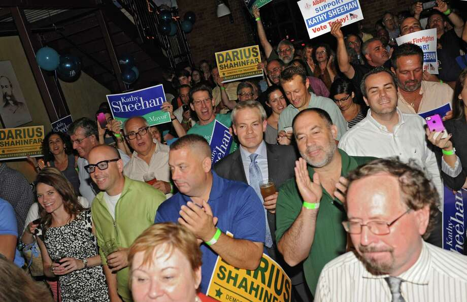 Supporters cheer as Kathy Sheehan arrives to the stage to deliver a speech at the Albany Pump Station after winning the Albany mayoral primary race on Tuesday, Sept. 10, 2013 in Albany, N.Y. Sheehan was running against Corey Ellis. (Lori Van Buren / Times Union) Photo: Lori Van Buren / 00023807A