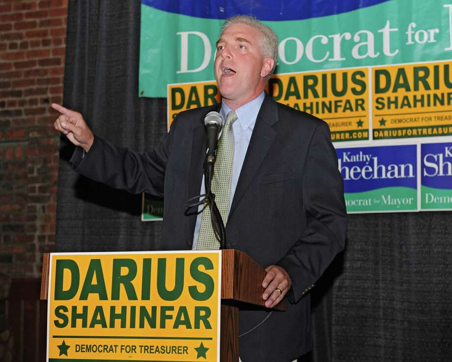 Treasurer candidate Darius Shahinfar talks to supporters at the Albany Pump Station after winning his primary race on Tuesday, Sept. 10, 2013 in Albany, N.Y. He was running against Gary Domalewicz. (Lori Van Buren / Times Union) Photo: Lori Van Buren / 00023807A
