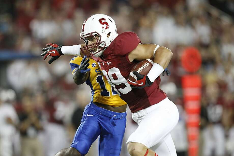Devon Cajuste, who had one catch in his first two seasons at Stanford, had three receptions and a touchdown in the first quarter of the Cardinal's opener against San Jose State on Saturday. Photo: Tony Avelar, Associated Press