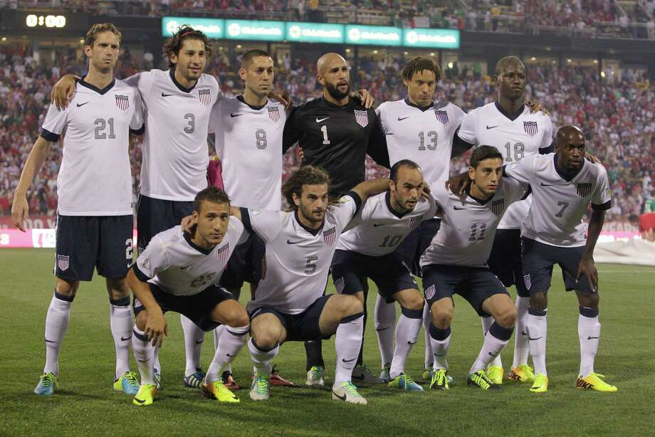 United States' starting 11 before the start of their game against Mexico in a World Cup qualifying soccer match Tuesday, Sept. 10, 2013, in Columbus, Ohio. (AP Photo/Jay LaPrete) Photo: Jay LaPrete, Associated Press / FR52593 AP