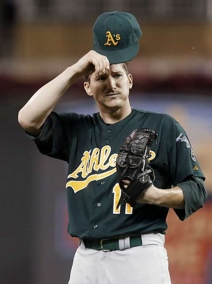 Jarrod Parker and the A's still had a 3-2 lead after Oswaldo Arcia homered to lead off the sixth inning, but the bullpen couldn't keep Minnesota from rallying for the victory. Photo: Jim Mone, Associated Press