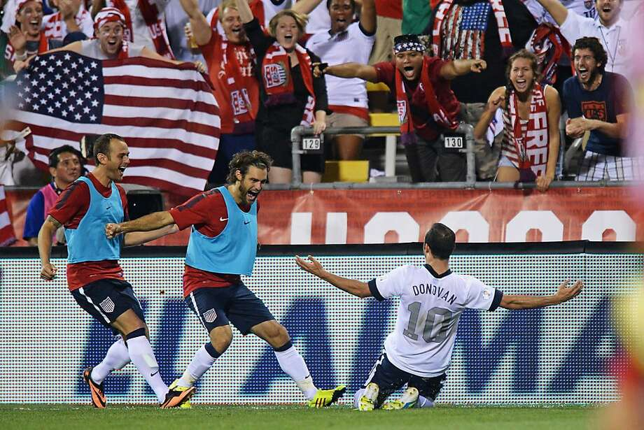 Landon Donovan celebrates after scoring in the second half of the U.S. victory over Mexico. Photo: Jamie Sabau, Getty Images