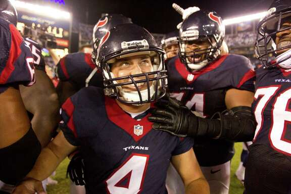 The last step in the Texans' rally on Monday night was accomplished by kicker Randy Bullock (center), who revels in booting the game-winning field goal to finish off his first NFL game.
