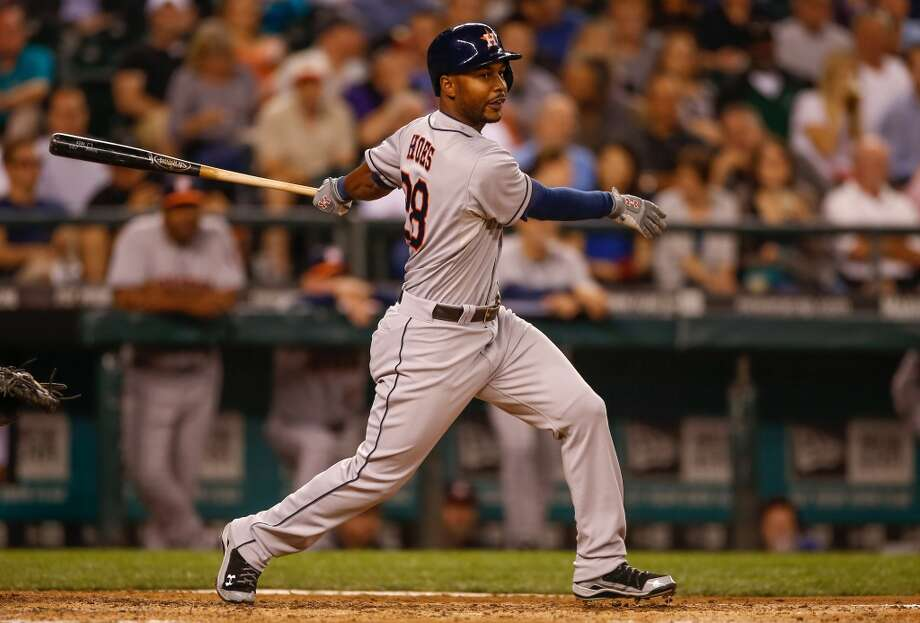 Sept. 10: Astros 13, Mariners 2L.J. Hoes #28 of the Astros hits a two-run double. Photo: Otto Greule Jr, Getty Images