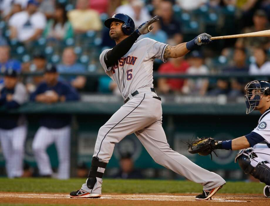Jonathan Villar #6 of the Astros homers. Photo: Otto Greule Jr, Getty Images