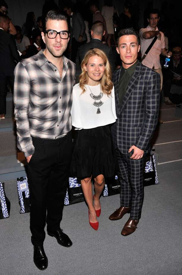 Zachary Quinto, a guest and Colton Haynes attend the Richard Chai Spring 2014 fashion show during Mercedes-Benz Fashion Week at The Stage at Lincoln Center on September 5, 2013 in New York City. Photo: Stephen Lovekin, Getty Images For Mercedes-Benz Fashion Week