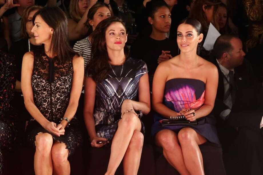 (L-R) Actors Perrey Reeves, Rose McGowen and Jessica Lowndes attend the Monique Lhuillier fashion show during Mercedes-Benz Fashion Week Spring 2014 at The Theatre at Lincoln Center on September 7, 2013 in New York City. Photo: Neilson Barnard, Getty Images For Mercedes-Benz Fashion Week Spring 2014