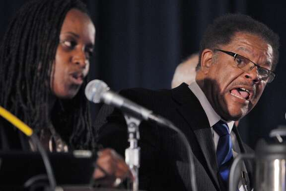 Councilmember Nat Bates made some racially charged remarks against Councilmember Jovanka Beckles after a vote on the eminent domain measure during a city council meeting on Tuesday, September 10, 2013, in Richmond, Calif.