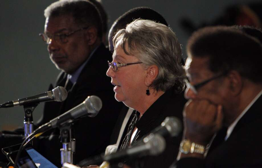 Richmond Mayor Gayle McLaughlin, flanked by Vice Mayor Corky Boozé, left, and Councilmember Nat Bates, right, addresses a speaker during a city council meeting on Tuesday, September 10, 2013, in Richmond, Calif. Photo: Carlos Avila Gonzalez, The Chronicle