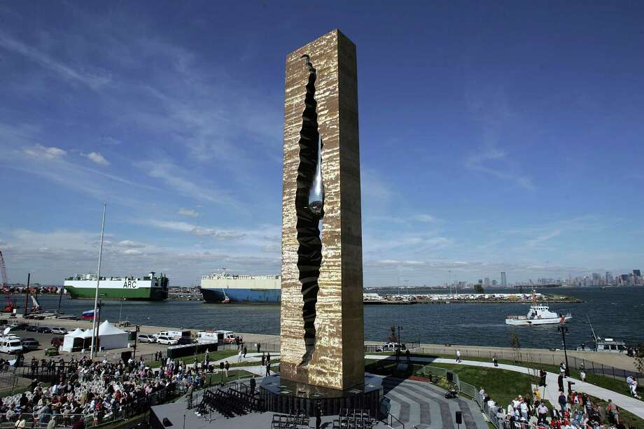"BAYONNE, NJ - SEPTEMBER 11:  The memorial ""To the Struggle Against World Terrorism"" is seen prior to its dedication at The Peninsula at Bayonne Harbor on September 11, 2006 in Bayonne, New Jersey.  A monument with a teardrop in steel was created by a Russian artist Zurab Tsereteli to honor victims of 9/11.  (Photo by Scott Gries/Getty Images) Photo: Scott Gries, Getty Images / Getty Images North America"