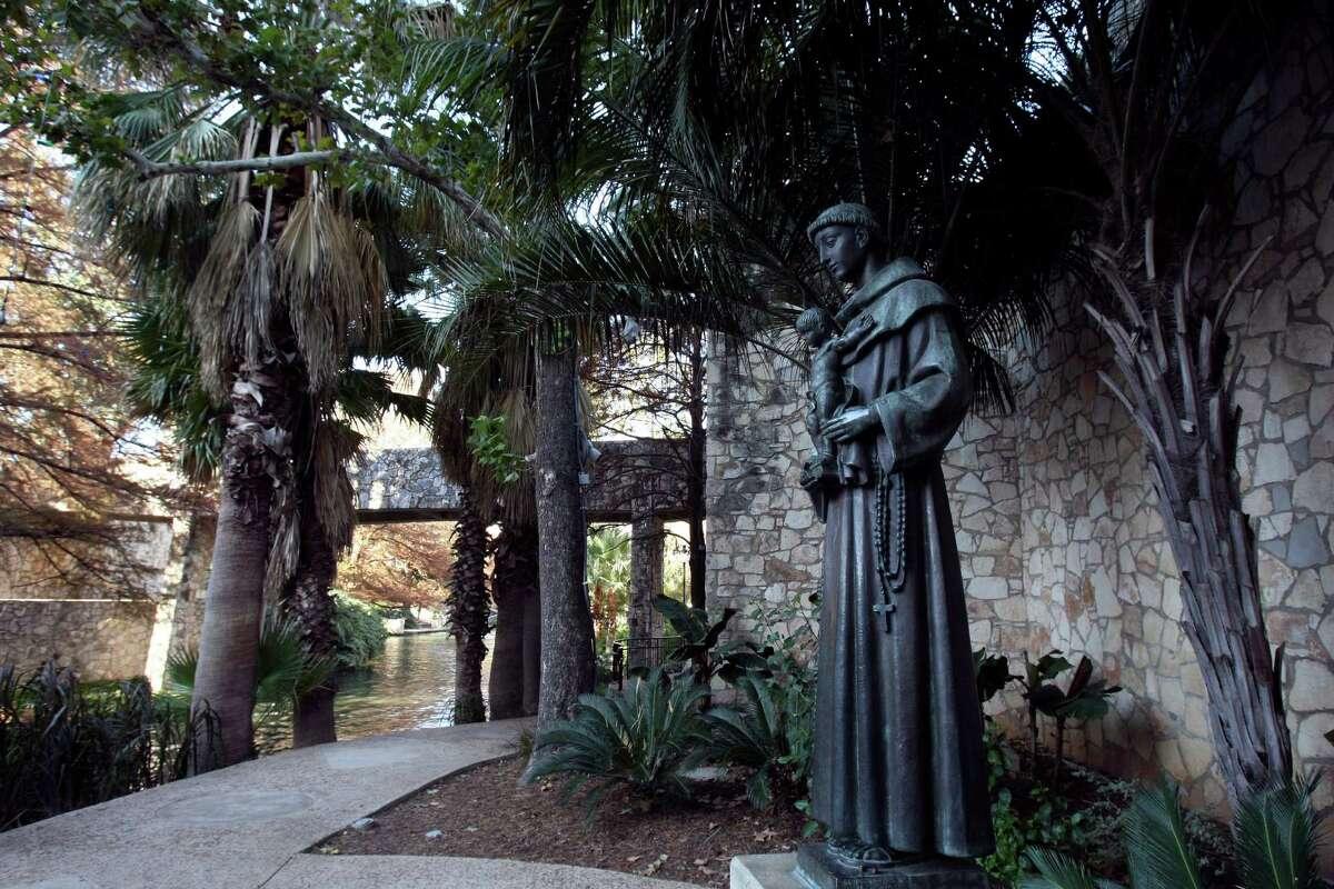 Statue of St. Anthony on the San Antonio Riverwalk.