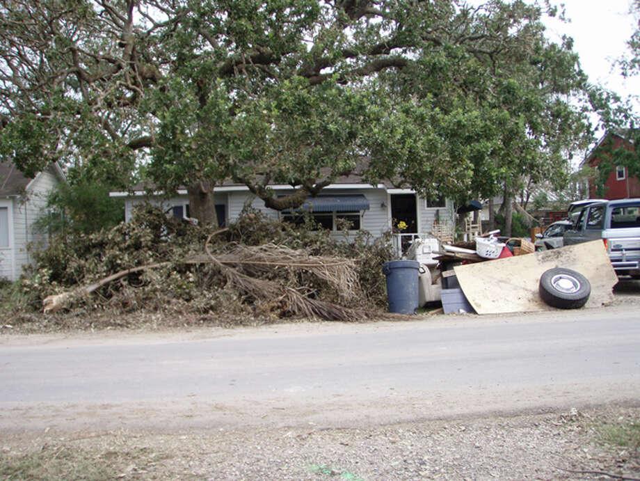 Debris piles up in Clear Lake Shores. Photo: Karen Heck
