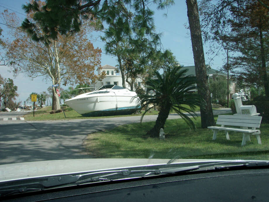 A boat sits along North Shore Drive in Clear Lake Shores. Photo: Karen Heck