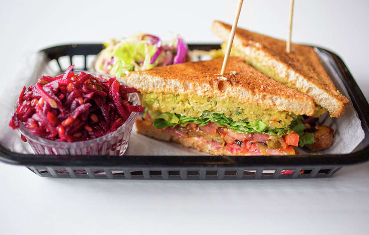 Falafel sandwich with beets and cabbage slaw at Local Foods.