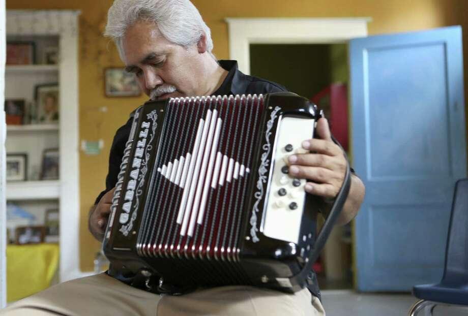 Pedro Castañeda prepares for his film role at Conjunto Heritage Taller.