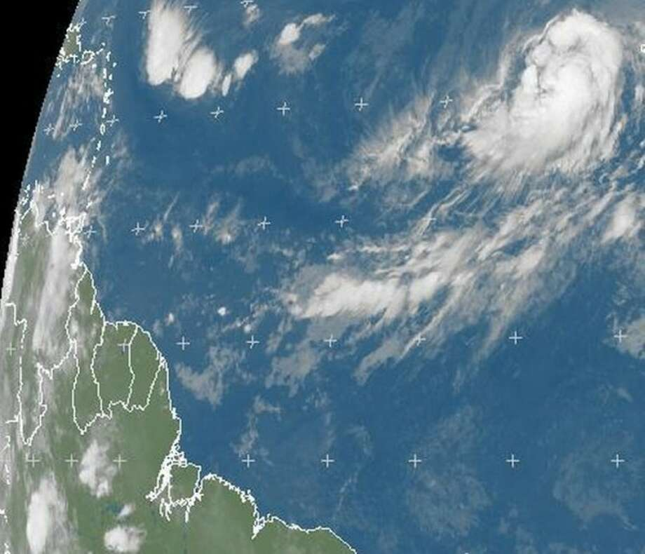 Hurricane Humberto is far out to sea from the Americas. (EUMETSAT)