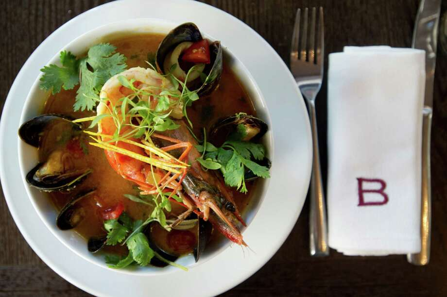 Bouillabaisse with mussels, cockles, shrimp, calamari and saffron at Barrique Bistro and Wine Bar at 188 Bedford Street in Stamford, Conn., on Wednesday, Sept. 11, 2013. Photo: Lindsay Perry / Stamford Advocate