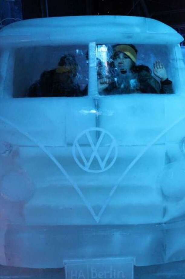 Tourists sit in a VW van made out of ice during the Ice Sculpture Festival on November 28, 2010 in Brugge, Belgium. Photo: Mark Renders, Getty Images