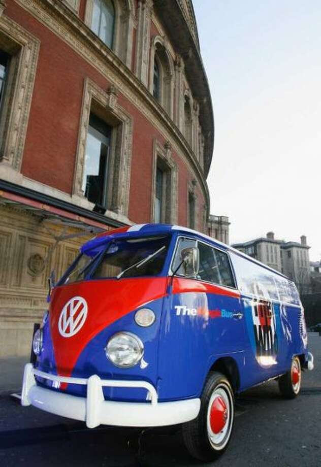 'The Magic Bus', a Volkswagen campervan painted with the logo of The Who parked outside the Royal Albert Hall on the first night of a series of concerts and events in aid of Teenage Cancer Trust organised by charity Patron Roger Daltrey, at the Royal Albert Hall on April 8, 2008 in London, England. Photo: Jo Hale, Wikimedia Commons
