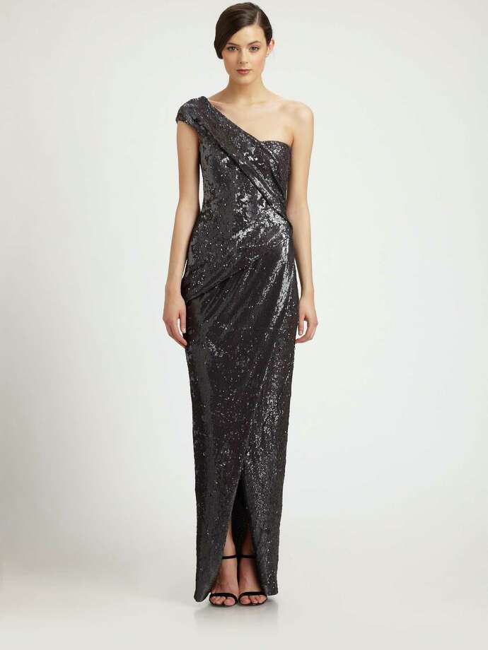 GALA-READYDonna Karan's sequined one-shoulder gown is prime for Houston's fall social season; $3,295 at Saks Fifth Avenue. Photo: Saks Fifth Avenue