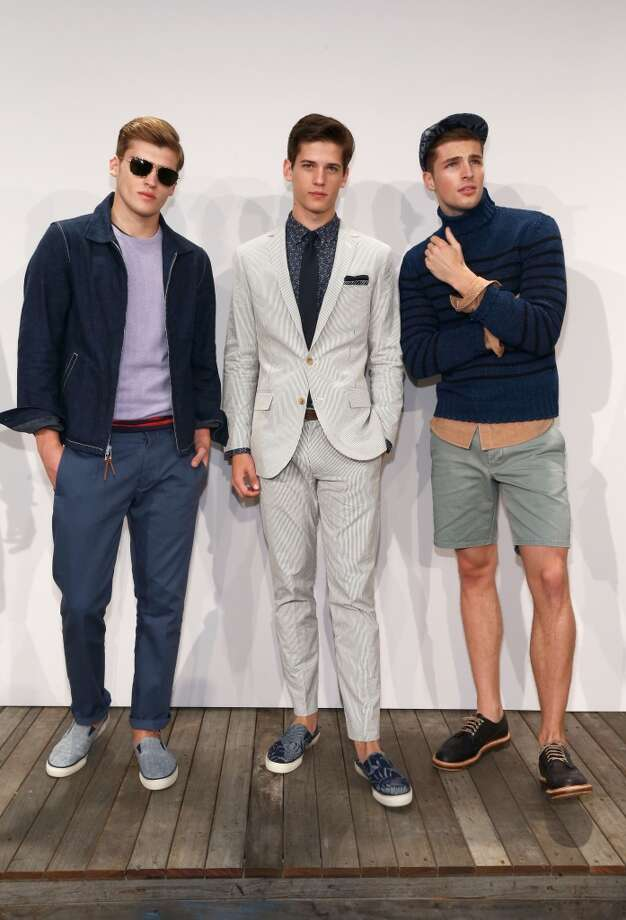 Models pose on the runway at the J.Crew presentation during Mercedes-Benz Fashion Week Spring 2014 at The Studio at Lincoln Center on September 10, 2013 in New York City. Photo: Brian Ach, Getty Images For Mercedes-Benz Fashion Week Spring 2014