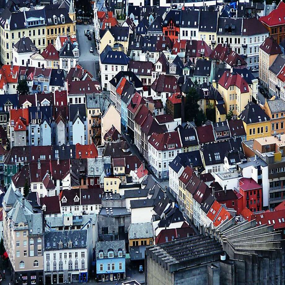 A stunning overhead view of the twisty streets and charming architecture of Bergen, Norway, is the reward for reaching the top of nearby Mount Floyen. Photo: Daniela Nobili, Flickr Vision