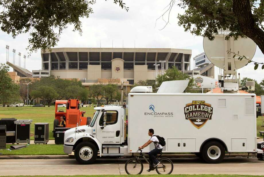 "Evidence of the buildup to a big game is evident throughout College Station as the setup for ESPN's ""Gameday"" begins outside Kyle Field, above, and gear exhorting A&M to repeat its 2012 upset of Alabama is selling hotly. Photo: J. Patric Schneider, Freelance / © 2013 Houston Chronicle"