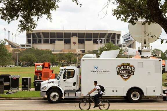 "Evidence of the buildup to a big game is evident throughout College Station as the setup for ESPN's ""Gameday"" begins outside Kyle Field, above, and gear exhorting A&M to repeat its 2012 upset of Alabama is selling hotly."