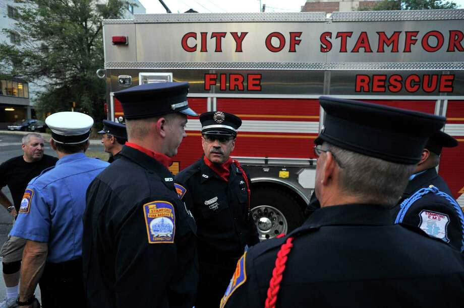 Scenes from the Stamford Firefighter's 9/11 Memorial Observance at Fire Station 5 in Stamford on Wednesday, Sept. 11, 2013. Photo: Jason Rearick / Stamford Advocate