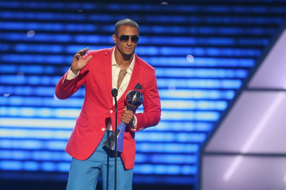 Yes, Colin Kaepernick again  Just look at him at the ESPY Awards in July! He got a lot of flack from Seahawks fans for that outfit. Did you see what Russell Wilson wore to the ESPYS? Yeah, normal clothes. And oh, by the way, here's a good one to rile up the 12th Man even more: In his conference call with Seattle media Wednesday, Kaepernick downplayed the effect of crowd noise at CenturyLink Field. This from a guy who had to take two timeouts in the first quarter of December's game because he couldn't hear over the 12th Man. Good luck Sunday, Kaep, when Seahawks fans shoot for the Guinness World Record for crowd roar. Photo: Frederick M. Brown, Getty Images