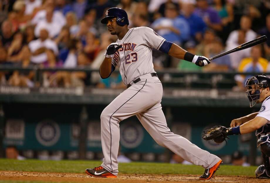 Sept. 11: Astros 6, Mariners 1  Chris Carter #23 of the Astros hits a two-run single. Photo: Otto Greule Jr, Getty Images